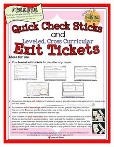 5 Exit tickets to fit students needs or provide students the opportunity to choose their own exit ticket. - 4 Quick check sticks - End of lesson strips for students to write a question they want to know the answer to. Exit Slips, Cross Curricular, Exit Tickets, Great Schools, Classroom Projects, Differentiation, Science Experiments, Second Grade, Assessment