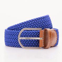 Pleciony pasek męski - odcień niebieski - kolekcja Beltology