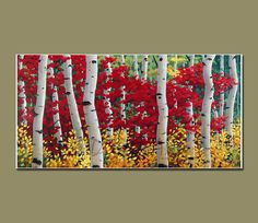 Art Print of- Original Oil Painting- ASPENS Series-Canvas Print-GICLEE Print- LANDSCAPE Painting ,Aspens Painting  Size 26inX13in. $65.00, via Etsy.