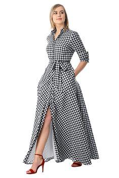 I this Gingham check cotton maxi shirtdress from eShakti Custom Dresses, Modest Dresses, Casual Dresses, Summer Dresses, African Fashion Dresses, African Dress, Fashion Outfits, Women's Fashion, Cotton Shirt Dress