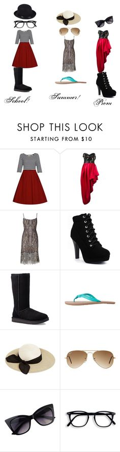 """3 in 1 Fashion"" by pevivilecchia on Polyvore featuring Moschino, BCBGMAXAZRIA, UGG, Volcom, Eugenia Kim and Ray-Ban"