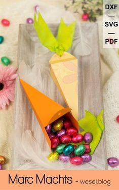 Geschenk zu Ostern basteln, Geschenk als Geschenk zu Ostern für Schere und Plotter - PDF, SVG und DXF. Plotterdatei - Plottervorlage Ostern. Presents, Freebies, Blog, Jewelry Making, Diy Gifts Man, Carrot, Gifts, Blogging, Favors