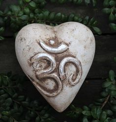 Large Puffy Heart Enlightenment Om Mantra / Meditation, Mexican Folk Art Pottery
