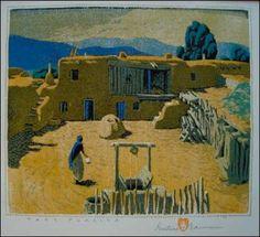 """Gustave Baumann """"Taos Placita"""""""