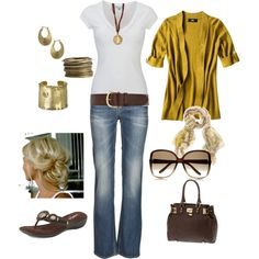mustard & brown -- big belt & over-sized sunglasses