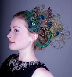 Absinthe Nymph Peacock Feather Flapper Hair Clip