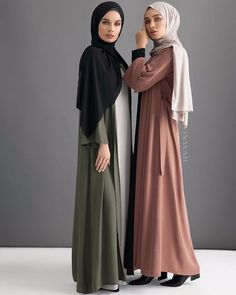 Layering is the key to conquering your looks this season. Choose from our wide selection of modest outerwear and clothing! Khaki Georgette Kimono Feather Grey Slip Dress  Black Soft Crepe Hijab  Mocha Open Front Abaya  Black Tailored Flare Abaya  Oatmeal Rayon Blend Jersey Hijab  www.inayah.co
