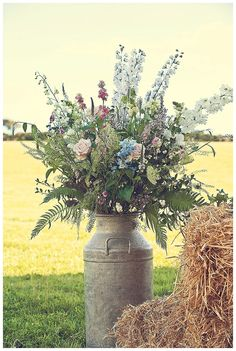 Devon wedding flowers in churn - farm wedding