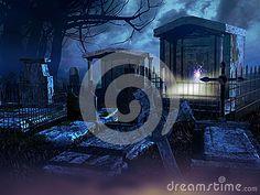 Cemetery at night. Several tombstones at the foreground. Behind them, something is happening in a mausoleum.