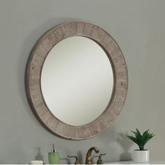 Rustic Style 35 inch Round Wall Mirror | Overstock.com Shopping - The Best Deals on Mirrors