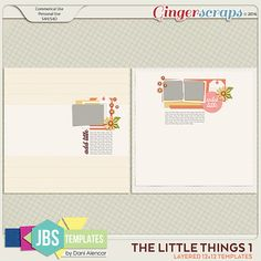 The Little Things 1 Templates (Commercial Use). Now on sale at Gingerscraps