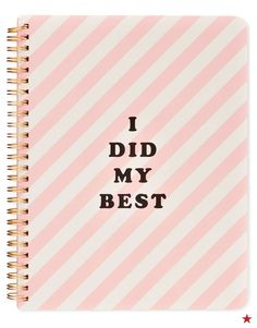 "Because brilliant ideas deserve a special place. The ban.do ""I Did My Best"" mini notebook features gold-tone spirals and an adorable centerfold."