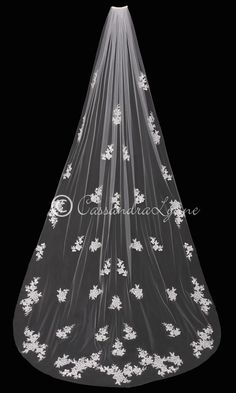 Cathedral Wedding Veil with Sequined Lace Apliiques