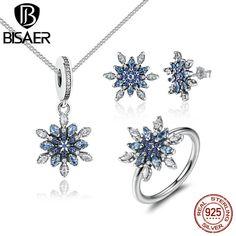 >> Click to Buy << BISAER 925 Sterling Silver Crystalized Snowflake Blue Crystals Clear CZ Jewelry Sets Sterling Silver Jewelry Accessories HPS006 #Affiliate