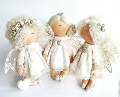 Tender angel – shop and order online on Livemaster | Tutelar is a perfect gift for any occasion:… Angel Crafts, Xmas Crafts, Handmade Angels, Handmade Toys, Crochet Doll Clothes, Knitted Dolls, Doll Crafts, Diy Doll, Pretty Dolls