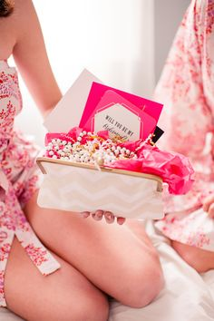 Super cute 'Will You Be My Bridesmaid?' Slumber Party! www.theperfectpalette.com - Katherine Henry Boudoir, Making Me Events, Blush Paper Co., Pomp Pearls