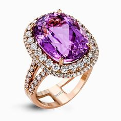 Reflecting an impressive contemporary style, this rose gold ring is emphasized by an exquisite 12.06 ctw center kunzite surrounded by 1.49 ctw of round diamonds.