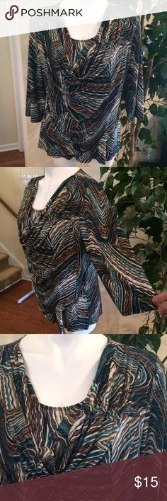 Dressbarn Blouse 3/4 sleeve, soft knit top, with drape front over tank/panel. Multi-colored... Teal & turquoise, with black, cream, grey, & taupe. Thin lines of metallic gold throughout. Gently worn. Dress Barn Tops Blouses