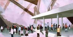 Thomas Eggerer The Privilege of the Roof 2004 acrylic on canvas 48 x 92 x cm Berlin, International Artist, Urban Landscape, Figure Painting, Figurative Art, Art Boards, Contemporary Art, Art Gallery, Images