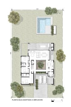 El patio como protagonista - Casas - EspacioyConfort - Arquitectura y decoración Modern House Plans, Small House Plans, House Floor Plans, Courtyard House, Villa Design, Architecture Plan, House Layouts, Plan Design, How To Plan