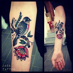 American Traditional-style tattoo (Robin?) by Jaca Tattoo