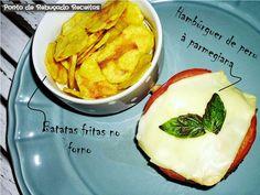 Ponto de Rebuçado Receitas: Hambúrguer de peru à parmegiana com batatas fritas no microondas