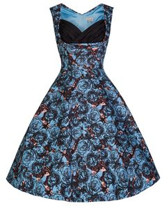 Lindy Bop  Ophelia  Parisian Style Blue Rose Print 50 s Swing Dress (2XL 53d0a5ee99