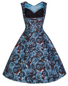 Lindy Bop 'Ophelia' Parisian Style Blue Rose Print 50's Swing Dress (M, Blue Graphite Floral)