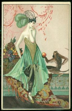 Montedoro Art Deco Postcard Woman and Monkey Offering Fruit | eBay