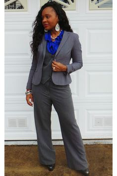 Strictly Business This 3 piece was something that I pieced together out of my closet from clothes that I have had for a LONG time!  I love the pop of blue that was added to the gray.  This can be worn to a professional business meeting with clients or a company party.    Make sure to follow me:  Facebook: Trish Morrissette  Facebook: Trish M Ministries  Facebook: Professional Translations Inc.  Twitter: @LadyTrishM  Instagram: @ladytrishm
