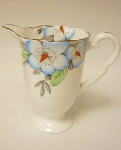 Staffordshire Vintage English Fine Bone China Milk Jug with Blue Poppies.