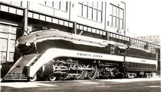 1938 Frisco Lines - One of three examples, and of streamlining applied to Firefly engines Futurama, Train Posters, Bonde, Train Times, Train Pictures, Old Trains, Train Engines, Model Train Layouts, Steam Engine