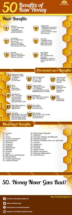 50 Benefits of Raw Honey Infographic healthylivingdail… 50 Vorteile von rohem Honig Infografik healthylivingdail … Honig What Is Raw Honey, Honey For Acne, Honey Benefits, Health Benefits, Healthy Lifestyle Habits, Seasonal Allergies, Natural Honey, Health Facts, Health Tips