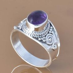AMETHYSTS 925 SOLID STERLING SILVER EXCLUSIVE RING 3.45g DJR7412 #Handmade #Ring