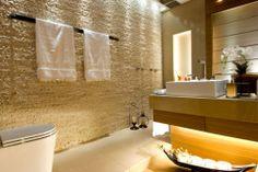 Construindo Minha Casa Clean: Paredes com Pedras! Restroom Design, Bathroom Interior Design, Casa Clean, Dream Bath, Corner Bathtub, Bath And Body, House Design, Curtains, Home Decor