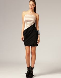 Enlarge Eva Evanovich Contrast Bandeau Fold Dress
