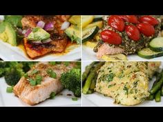 Here's Four Healthy Ways To Make A Salmon Dinner Tonight I - One-Pan Avocado Lime Salmon INGREDIENTS 6 ounces skinless salmon 1 garlic clove, minced Olive oi...