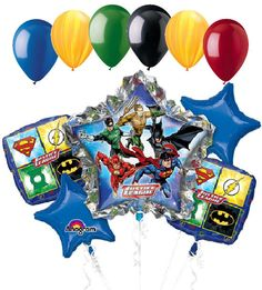 """Included in this bouquet: 11 Balloons Total 1 – 34"""" """"Justice League"""" Jumbo Star Balloon 2 – 18"""" Superman, Flash, Green Lantern, & Batman Square Balloons 2 – 18"""" Blue Star Balloons 6 - 12"""" Mixed Latex"""
