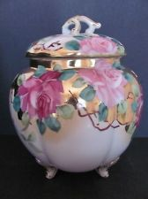 Nippon Biscuit Jar Maple Leaf Mark C 1891 Hand Painted Gold Roses