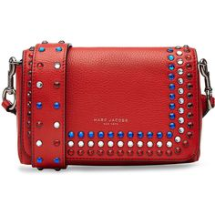 Marc Jacobs P.Y.T. Leather Shoulder Bag found on Polyvore featuring bags, handbags, shoulder bags, red, red leather handbag, studded purse, shoulder strap bag, genuine leather purse and red shoulder bag