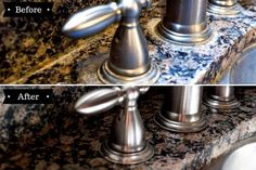 Want to remove those stubborn hard water stains from your granite counter tops? Our simple tutorial gets the job done without using any harsh chemicals. #simply2moms #granite #hardwaterstains #cleaningtips #hardwater #mineraldeposits #granite How To Clean Granite, Affordable Storage, Hard Water Stains, Storage Hacks, Counter Tops, Granite Countertops, Diy Tutorial, Cleaning Hacks, Simple