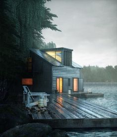 Ideas for house lake forest architecture Ideas De Cabina, Architecture Design, Haus Am See, Lake Forest, Cabins And Cottages, Cabins In The Woods, Future House, Bungalow, Tiny House
