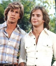 Parker Stevenson and Shaun Cassidy from the TV show The Hardy Boys.  I could never figure out which one I thought was cuter!
