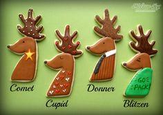 Comet, Cupid, Donner, Blitzen Reindeer Cookies by Melissa Joy