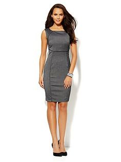 7th Avenue Suiting Collection Piped Sheath Dress - Charcoal from New York & Company - 6