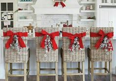 20 Elegant Christmas Kitchen Decor Ideas And Makeover 21 christmas Christmas Chair, Christmas Kitchen, Noel Christmas, Christmas Projects, Christmas Wreaths, Christmas Ornament, Wicker Headboard, Wicker Dresser, Wicker Couch