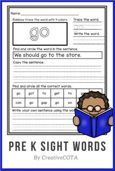 Use these no prep pre-primer sight word worksheets and low prep activities to help students learn sight words.This is a pre-primer list that includes: a, and, away, big, blue, can, come, down, find, for, funny, go, help, here, I, in, is, it, little, look, make, me, my, not, one, play, red, run, said, see, the, three, to, two, up, we, where, yellow and you.