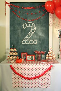 Red dot party ideas from http://themcclenahans.blogspot.com/2012/01/red-ball-party-levis-second-birthday.html