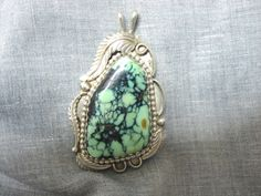 Southwestern Signed G. Witte Number 8 Turquoise Sterling Silver Necklace Pendant #GWitte