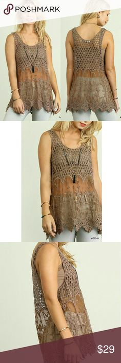 """🆕Mocha Brown Crochet Lace Top Gorgeous and delicate, this top features a crochet and lace design. Sheer. Perfect over your favorite bralette or tank top.  *HEIGHT OF MODEL: 5'8"""" / SIZE: SMALL Fabric COTTON BLEND Tops"""